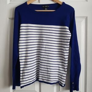 Beautiful Bright Cobalt Blue w/ White Stripes Top